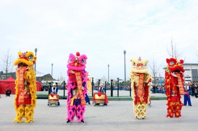 这次舞狮表演由贺州市沙田镇宝马雪狮队和深圳忠华舞狮队共同完成。四只狮子伴随着鼓声,时而跳跃、时而直立行走,活泼可爱。
