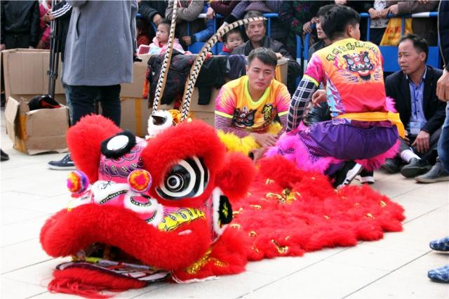 现场另一旁,舞狮队的表演者正聚精会神观看民间绝技,一会儿他们将要表演梅花桩舞狮。