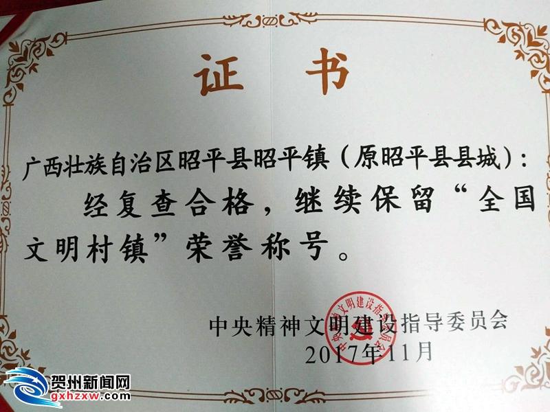 """昭平镇成功通过""""全国文明村镇""""复评工作"""