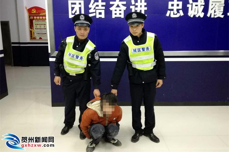 贺州一男子盗窃大货车电瓶被现场抓获