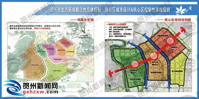 生态新城规划功能区分图与核心区规划结构图