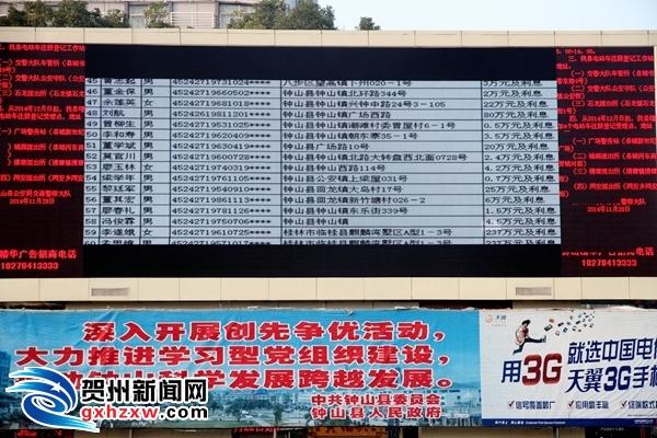 """钟山:公布""""失信人""""名单  """"老赖""""齐上大屏幕"""